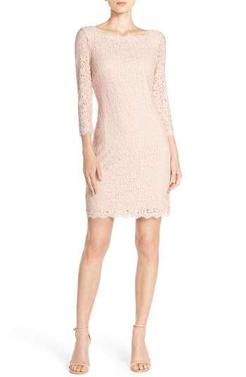 Adrianna Papell Lace Overlay Sheath Dress, Pink