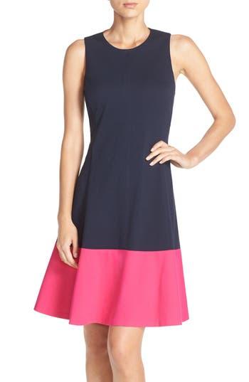 Eliza J Colorblock Hem Fit & Flare Dress, Blue