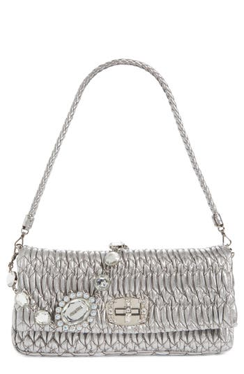 Miu Miu Medium Swarovski Crystal Chain Leather Shoulder Bag - Metallic