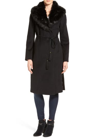 Women's Via Spiga Faux Fur Shawl Collar Wool Blend Wrap Coat