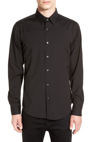 Men's Theory 'Sylvain' Trim Fit Long Sleeve Sport Shirt, Size Medium - Black