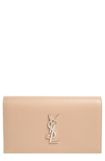 Saint Laurent 'Monogram' Leather Clutch - Beige at NORDSTROM.com