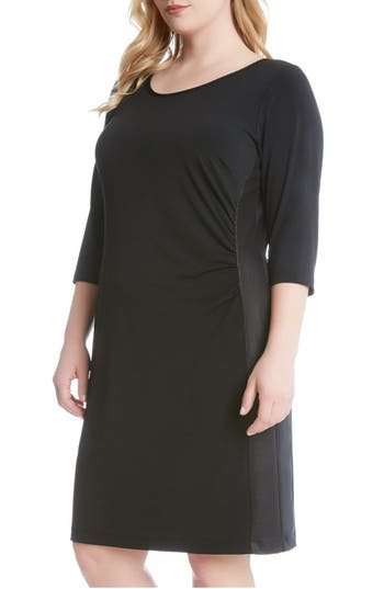 Plus Size Karen Kane Faux Leather Inset Jersey Sheath Dress