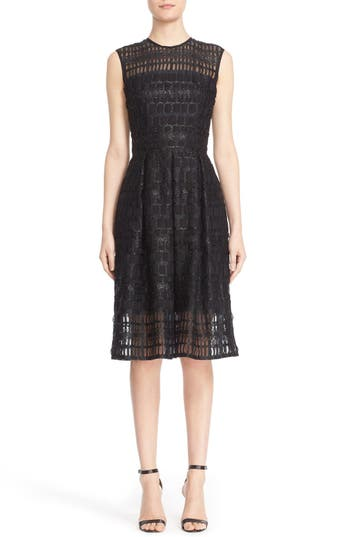 Carmen Marc Valvo Couture Sleeveless Lace Organza Fit & Flare Dress
