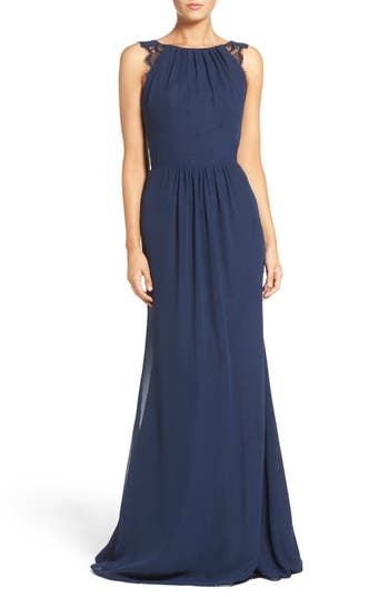 Hayley Paige Occasions Lace Strap Gathered Chiffon Gown, Blue