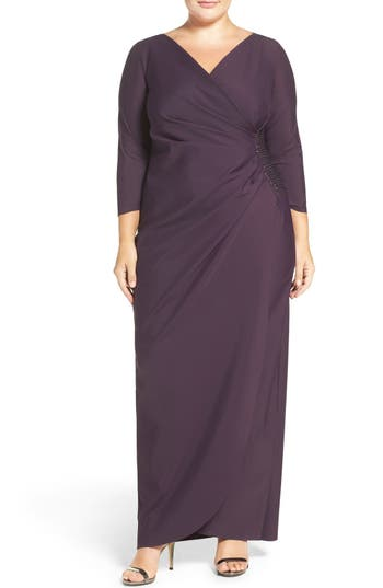 Plus Size Alex Evenings Embellished Side Ruched Jersey Gown