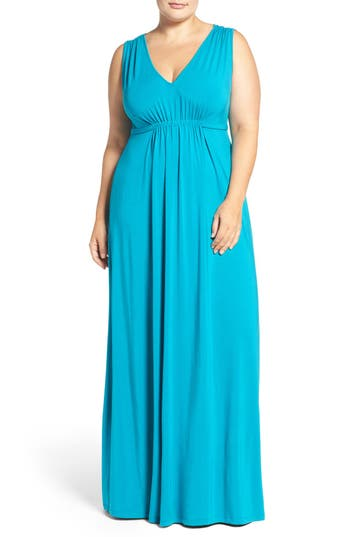 Plus Size Tart Grecia Sleeveless Jersey Maxi Dress, Blue