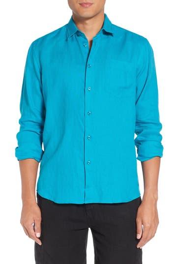 Men's Vilebrequin Caroubie Regular Fit Linen Sport Shirt, Size Small - Blue