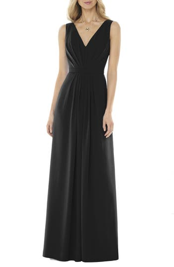 Social Bridesmaids V-Neck Georgette Gown, Black
