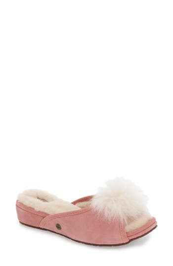 Ugg Yvett Open Toe Slipper With Genuine Shearling Pom