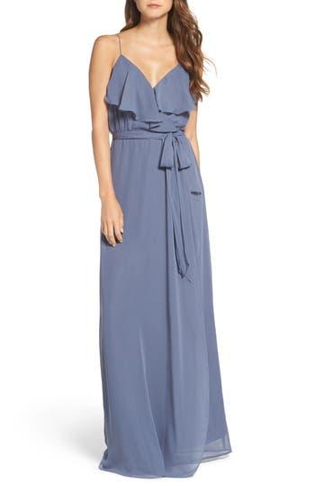 Women's Nouvelle Amsale 'Drew' Ruffle Front Chiffon Gown