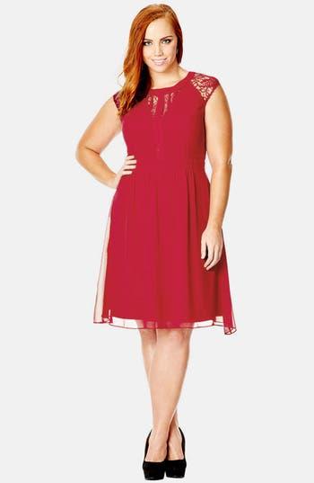 Plus Size City Chic Dark Romance Lace Detail Dress, Red