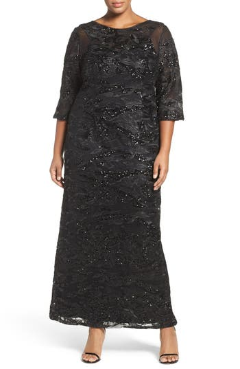 Plus Size Brianna Sequin Embroidered Illusion Sleeve Gown