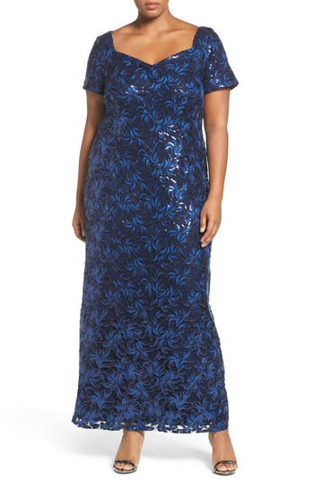 Plus Size Brianna Sequin Embroidered Sweetheart Gown