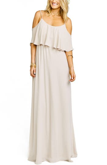 Show Me Your Mumu Caitlin Cold Shoulder Chiffon Gown, Beige