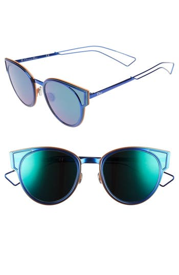 Women's Dior Sculpts 53Mm Cat Eye Sunglasses - Shiny Blue