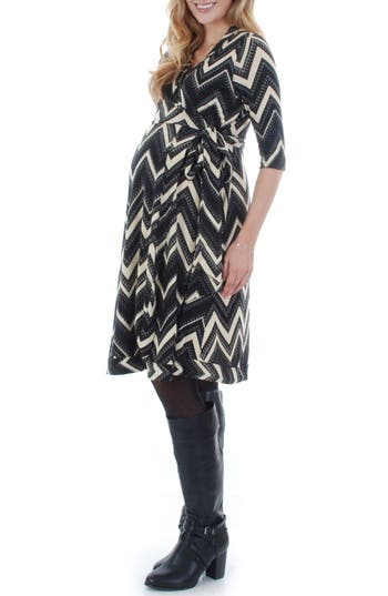 Women's Everly Grey Mila Wrap Maternity/nursing Dress, Size Medium - Black