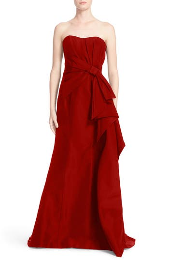 Carolina Herrera Bow Detail Strapless Silk Faille Gown, Red