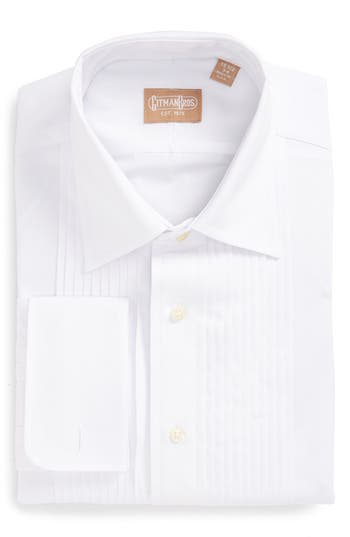 Men's Gitman Regular Fit Pleated Dress Shirt, Size 14.5 - 32 - White