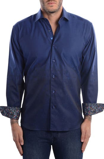 Men's Bertigo Abstract Modern Fit Sport Shirt, Size X-Small - Blue