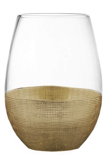 American Atelier Linen Set Of 4 Stemless Wine Glasses, Size One Size - Metallic