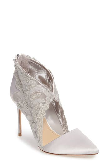 Imagine By Vince Camuto Obin Lace Detailed Pointy Toe Pump- Grey