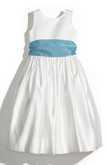 Girls Us Angels White Tank Dress With Satin Sash Size 8  Blue