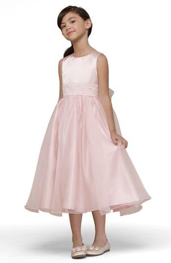 Girls Us Angels Beaded Satin Sleeveless Dress