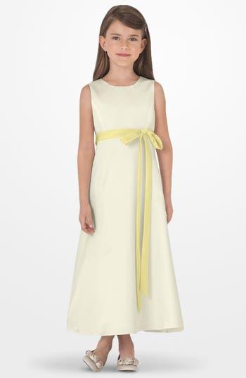 Girls Us Angels Sleeveless Satin Dress Size 6  Yellow