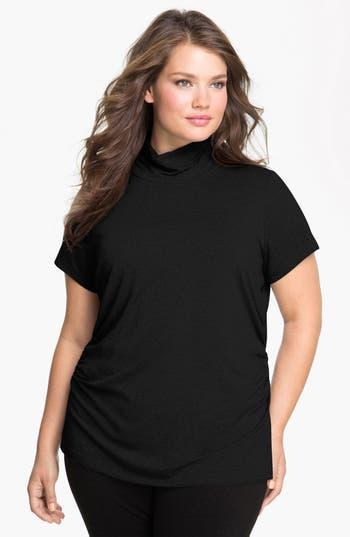 Plus Size Vince Camuto Scrunch Neck Top, Black