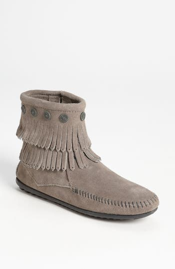 Minnetonka Double Fringe Boot, Grey