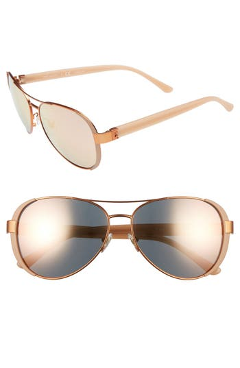 Women's Tory Burch 60Mm Aviator Sunglasses - Rose Gold