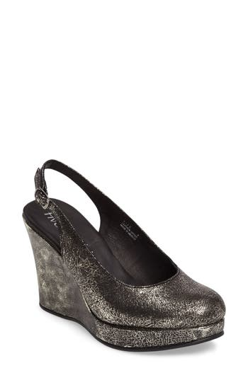 Five Worlds Alejo Slingback Platform Wedge, Metallic