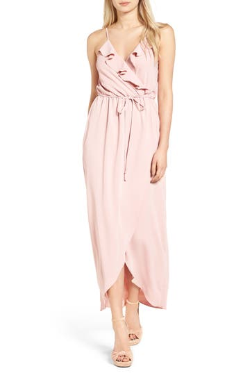 Women's Everly Ruffle Wrap Maxi Dress, Size X-Small - Pink