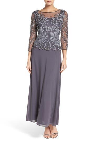 Petite Women's Pisarro Nights Embellished Mesh Gown, Size 12P - Grey