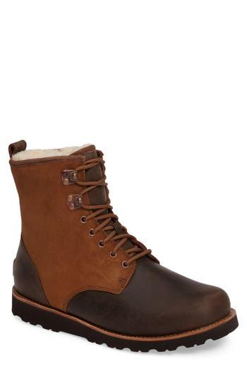 Ugg Hannen Plain Toe Waterproof Boot With Genuine Shearling, Brown