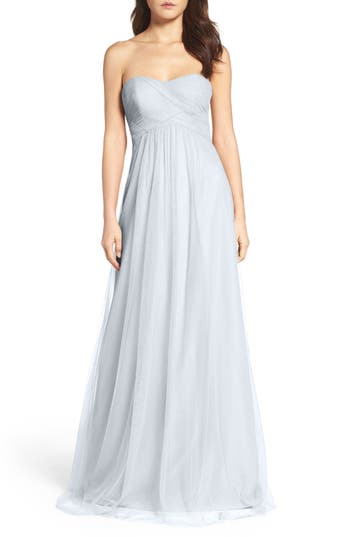 Wtoo Strapless Tulle Gown, Blue