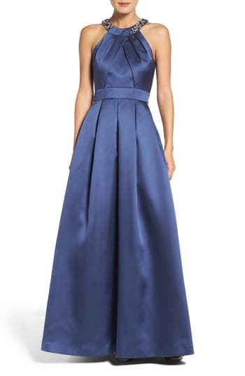Eliza J Beaded Pleated Gown