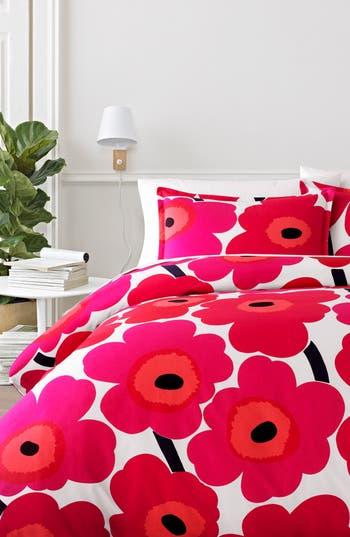 Marimekko Unikko Comforter & Sham Set, Size Twin - Red