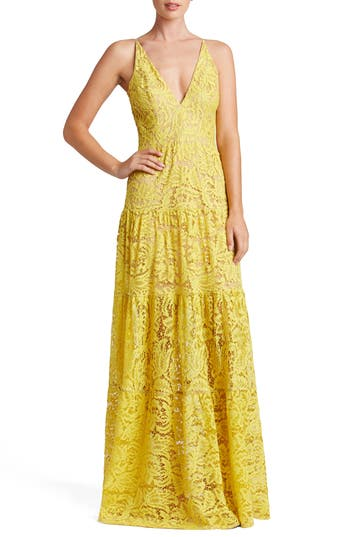 Dress The Population Melina Lace Fit & Flare Maxi Dress, Yellow