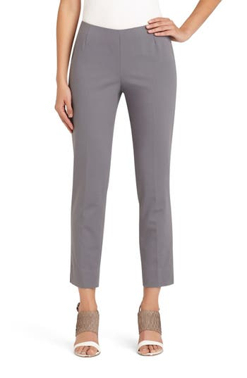 Women's Lafayette 148 New York 'Stanton' Slim Leg Ankle Pants, Size 10 - Grey