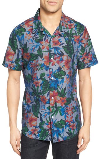 Men's Nordstrom Men's Shop Trim Fit Floral Print Camp Shirt