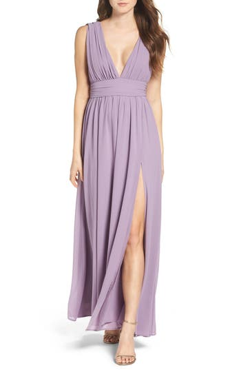 Women's Lulus Plunging V-Neck Chiffon Gown