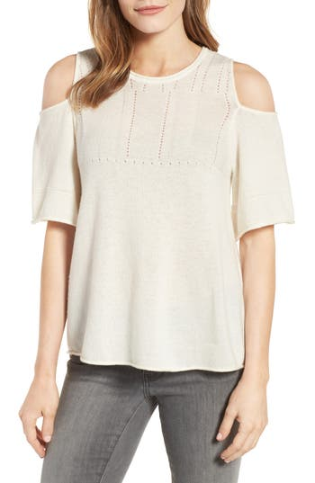 Velvet By Graham & Spencer Wool Blend Cold Shoulder Sweater, Ivory