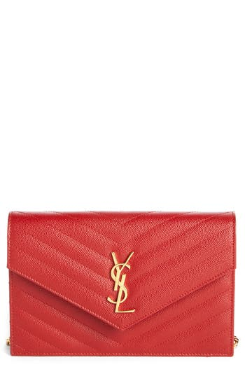 Women's Saint Laurent 'Small Mono' Leather Wallet On A Chain - Beige