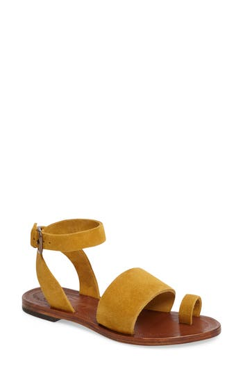 Women's Free People Torrence Ankle Wrap Sandal, Size 7.5-8US / 38EU - Yellow