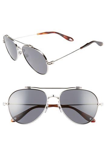 Men's Givenchy 58Mm Polarized Aviator Sunglasses - Palladium