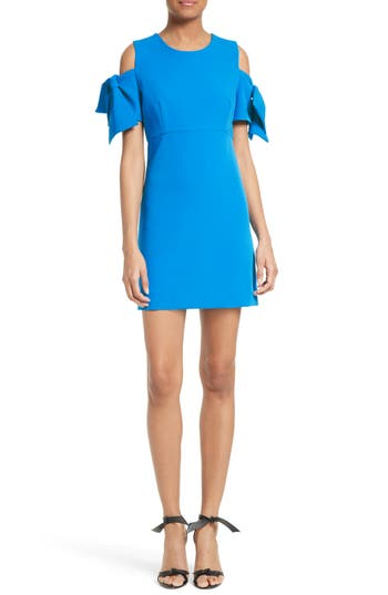 Milly Stretch Crepe Cold Shoulder Minidress, Blue