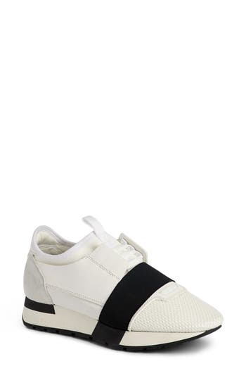 Balenciaga Mixed Media Trainer Sneaker, White