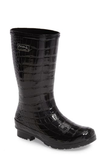 Roma Short Rain Boot, Black